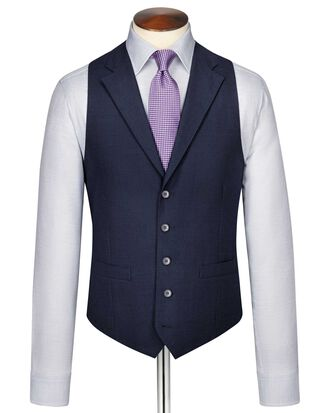 Indigo blue puppytooth Panama business suit vest