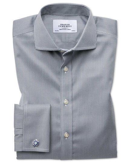 Slim fit spread collar non-iron puppytooth dark grey shirt