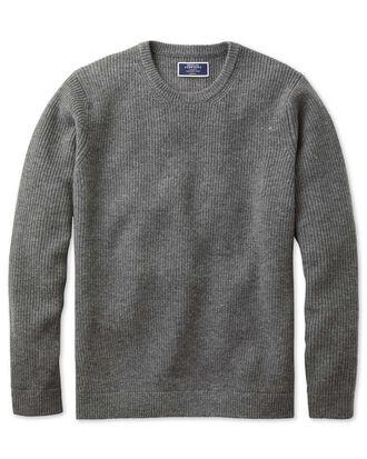Grey lambswool rib crew neck sweater