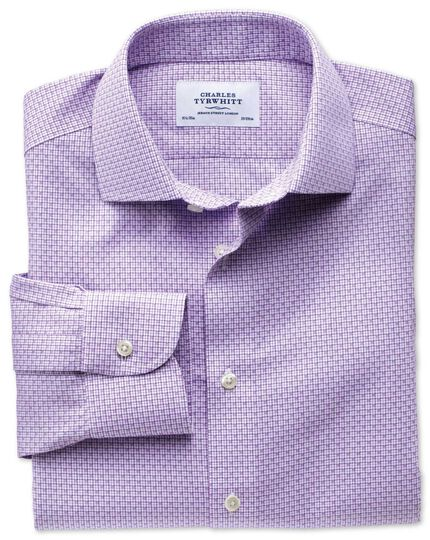 Extra slim fit semi-cutaway collar non-iron business casual grid check lilac shirt