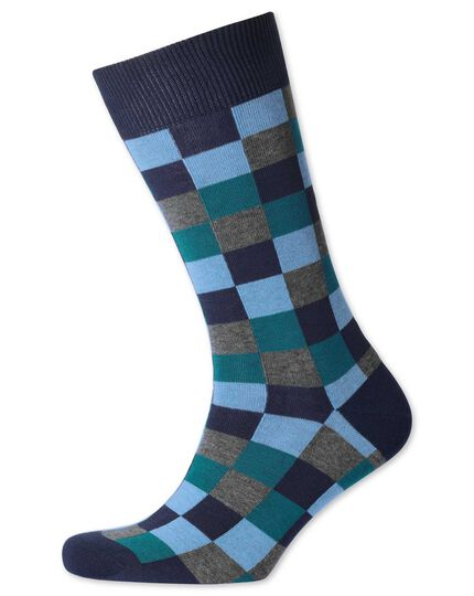 Blue multi check socks