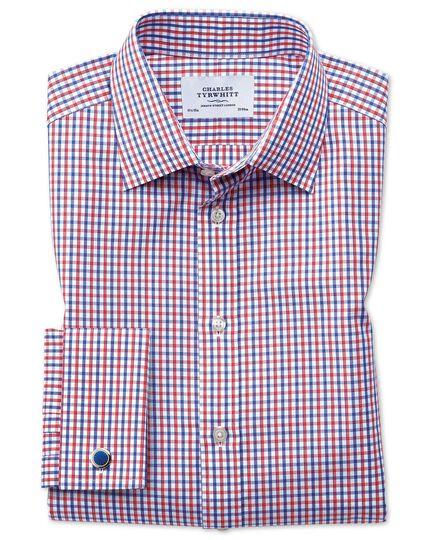Chemise rouge et bleue à carreaux bicolores slim fit