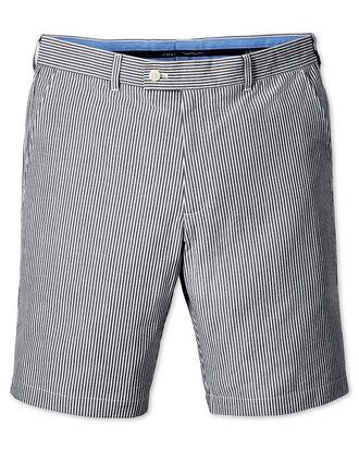 Blue slim fit seersucker stripe shorts