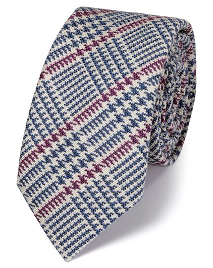 Blue and pink wool mix Prince of Wales check luxury tie