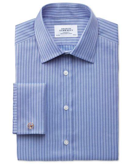 Slim fit Egyptian cotton textured stripe sky blue shirt