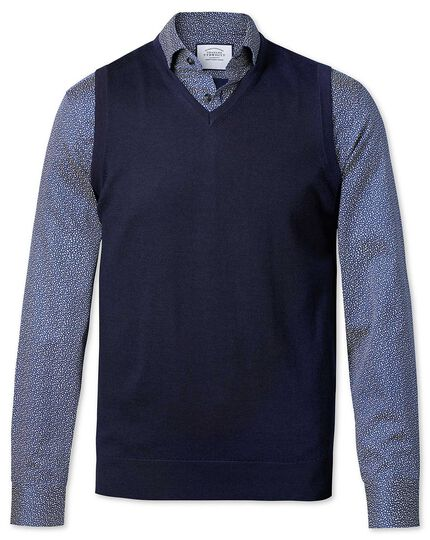 Ärmelloser Pullover aus Merinowolle in Marineblau