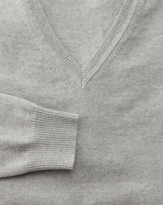 Light grey cotton cashmere v-neck sweater