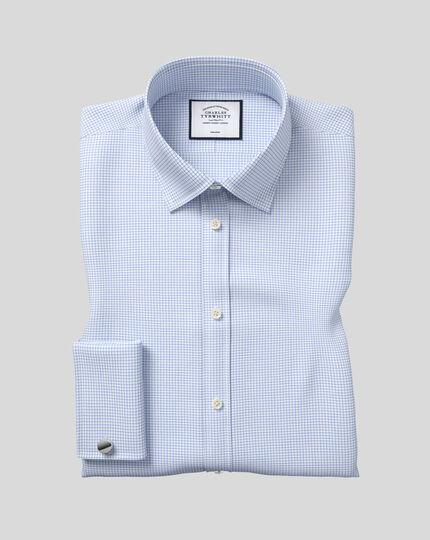 Slim fit non-iron twill mini grid check sky blue shirt