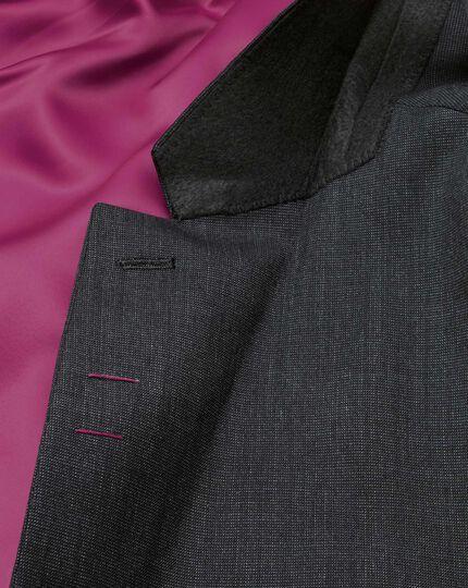 Charcoal slim fit end-on-end business suit jacket