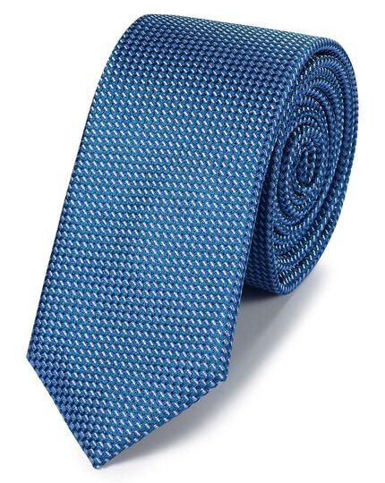 Sky blue silk slim textured semi plain classic tie