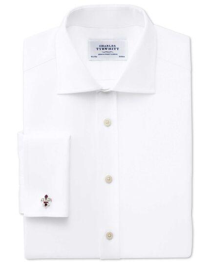Extra slim fit semi-cutaway collar Regency weave white shirt