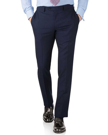 Slim Fit Panama-Businessanzug Hose in Blau mit Streifen