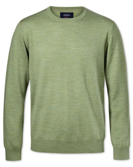 Light green merino wool crew neck sweater