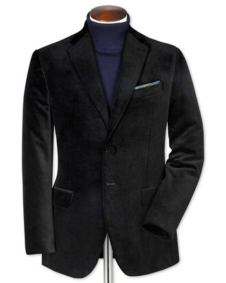 Blazer noir en velours slim fit