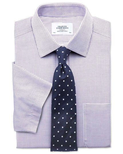 Slim fit non-iron grid check purple short sleeve shirt