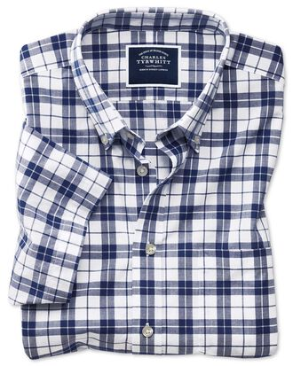 Classic fit poplin short sleeve navy and white  shirt