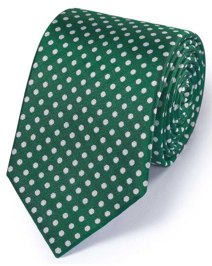 Green silk classic Oxford spot tie