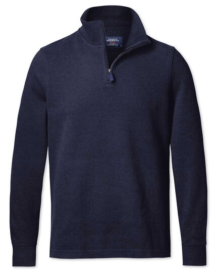 Navy half zip jersey sweater