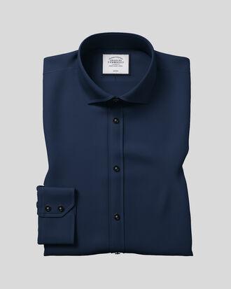 Chemise bleu marine en twill extra slim fit sans repassage à col cutaway
