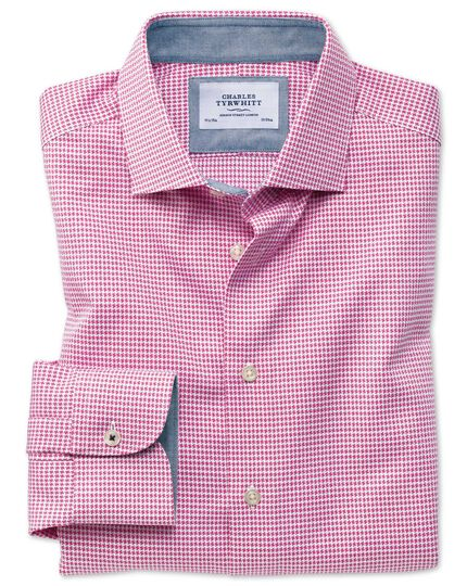 Classic fit semi-spread collar business casual non-iron modern textures pink puppytooth shirt