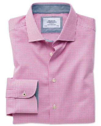 Extra slim fit semi-spread collar business casual non-iron modern textures pink puppytooth shirt