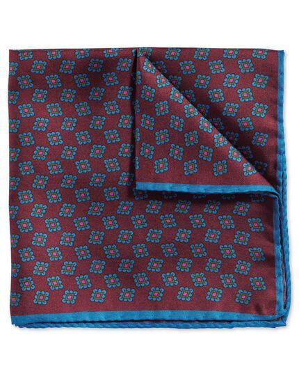 Pochette de costume de luxe bordeaux et bleue en tissu anglais avec imprimé géométrique