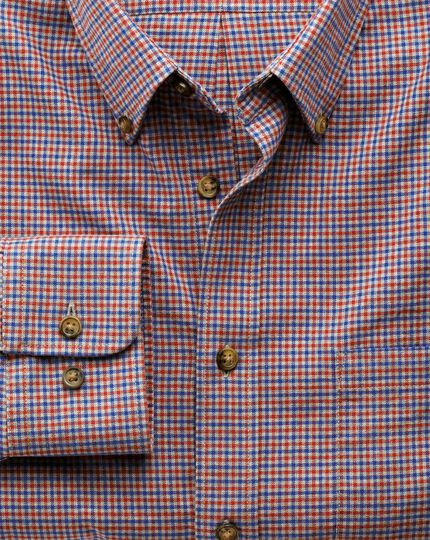 Classic fit blue and orange check tweed look shirt