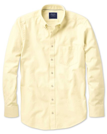 Classic fit button-down washed Oxford plain light yellow shirt