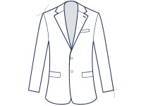 Suit jacket notch lapel slim fit illustration