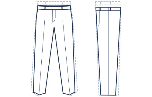 Slim fit flat front trousers illustration