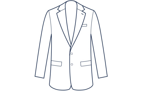 Suit jacket notch lapel classic fit illustration