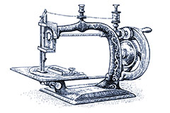 Traditional sewing machine illustration