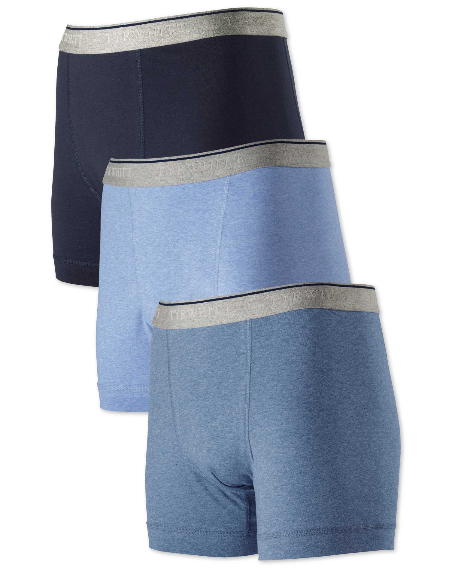 Blue Jersey 3 Pack Trunks Size XL by Charles Tyrwhitt