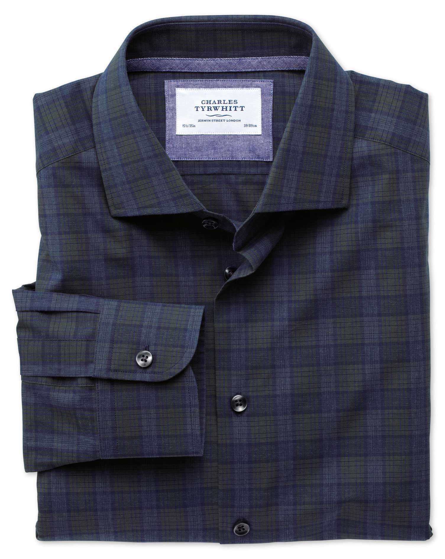 Classic Fit Semi-Cutaway Collar Business Casual Melange Navy and Green Check Egyptian Cotton Formal