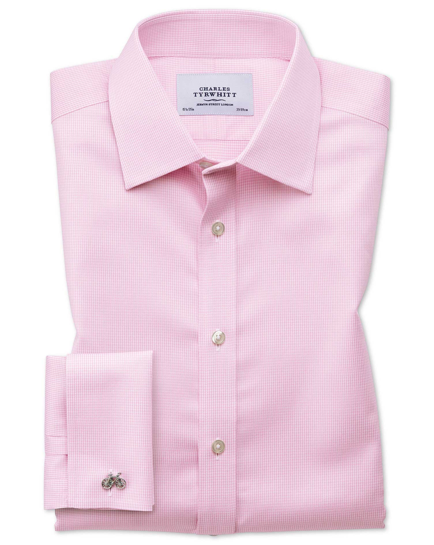 Classic Fit Non-Iron Puppytooth Light Pink Cotton Formal Shirt Single Cuff Size 16/35 by Charles Tyr