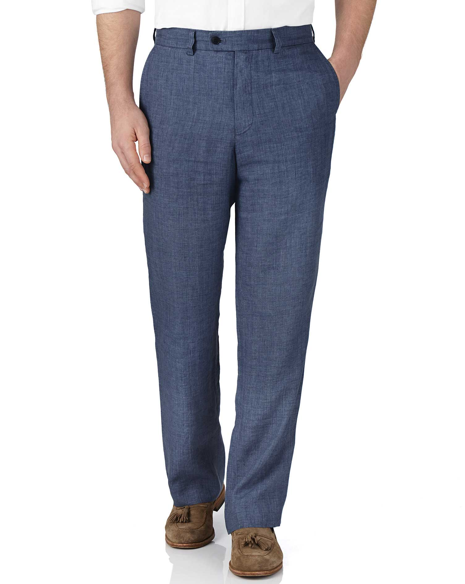 Blue Classic Fit Linen Trousers Size W34 L32 by Charles Tyrwhitt