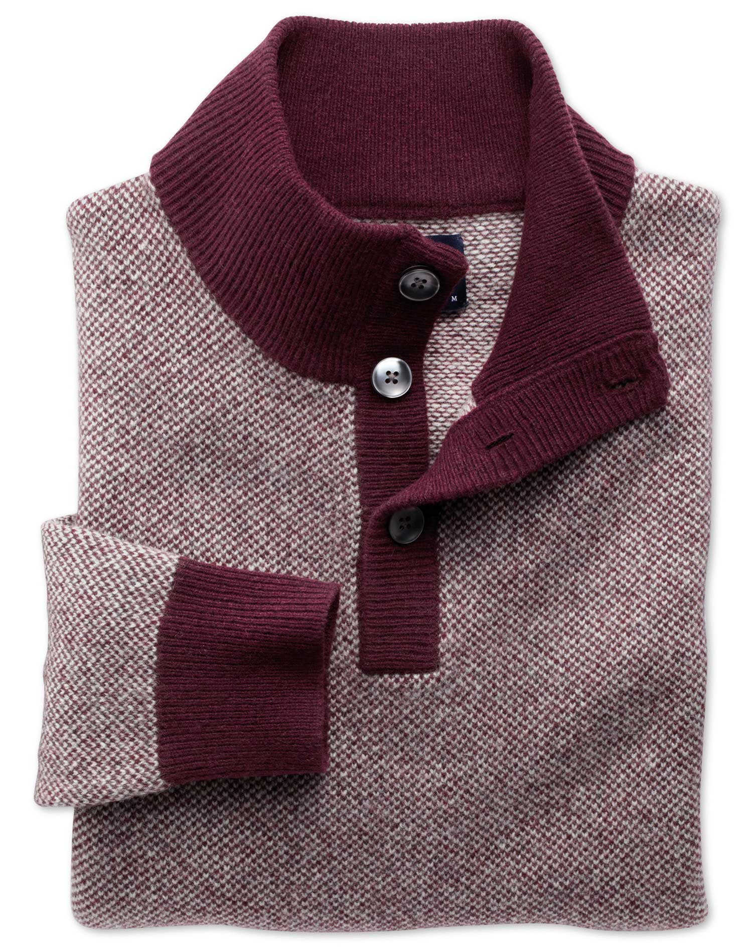 Wine Jacquard Button Neck Wool Jumper Size XXXL by Charles Tyrwhitt