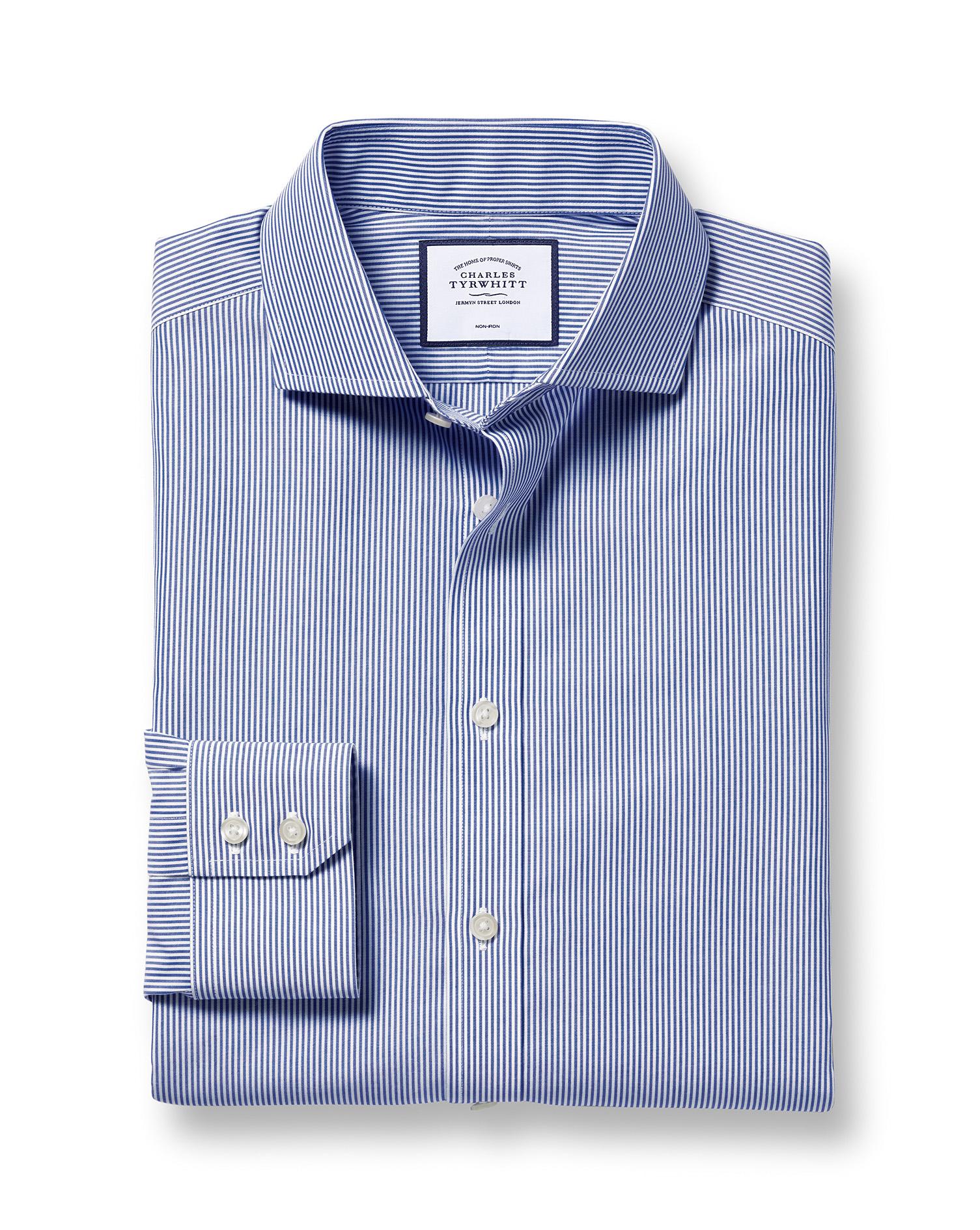 Extra Slim Fit Cutaway Non-Iron Bengal Stripe Navy Blue Cotton Formal Shirt Single Cuff Size 15.5/35