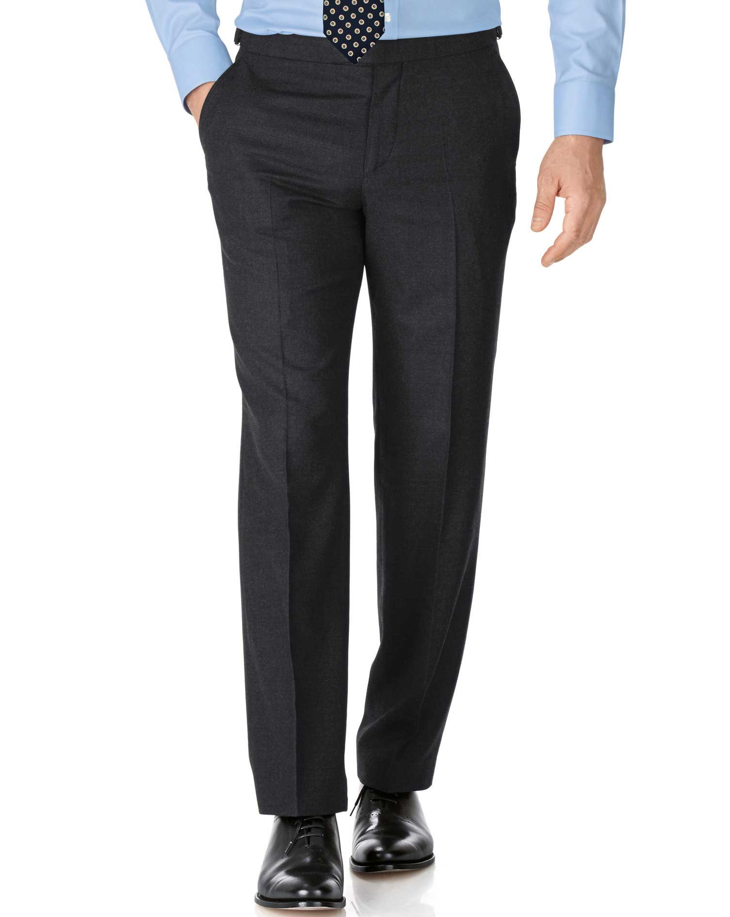 Charcoal Slim Fit British Serge Luxury Suit Trousers Size W38 L38 by Charles Tyrwhitt