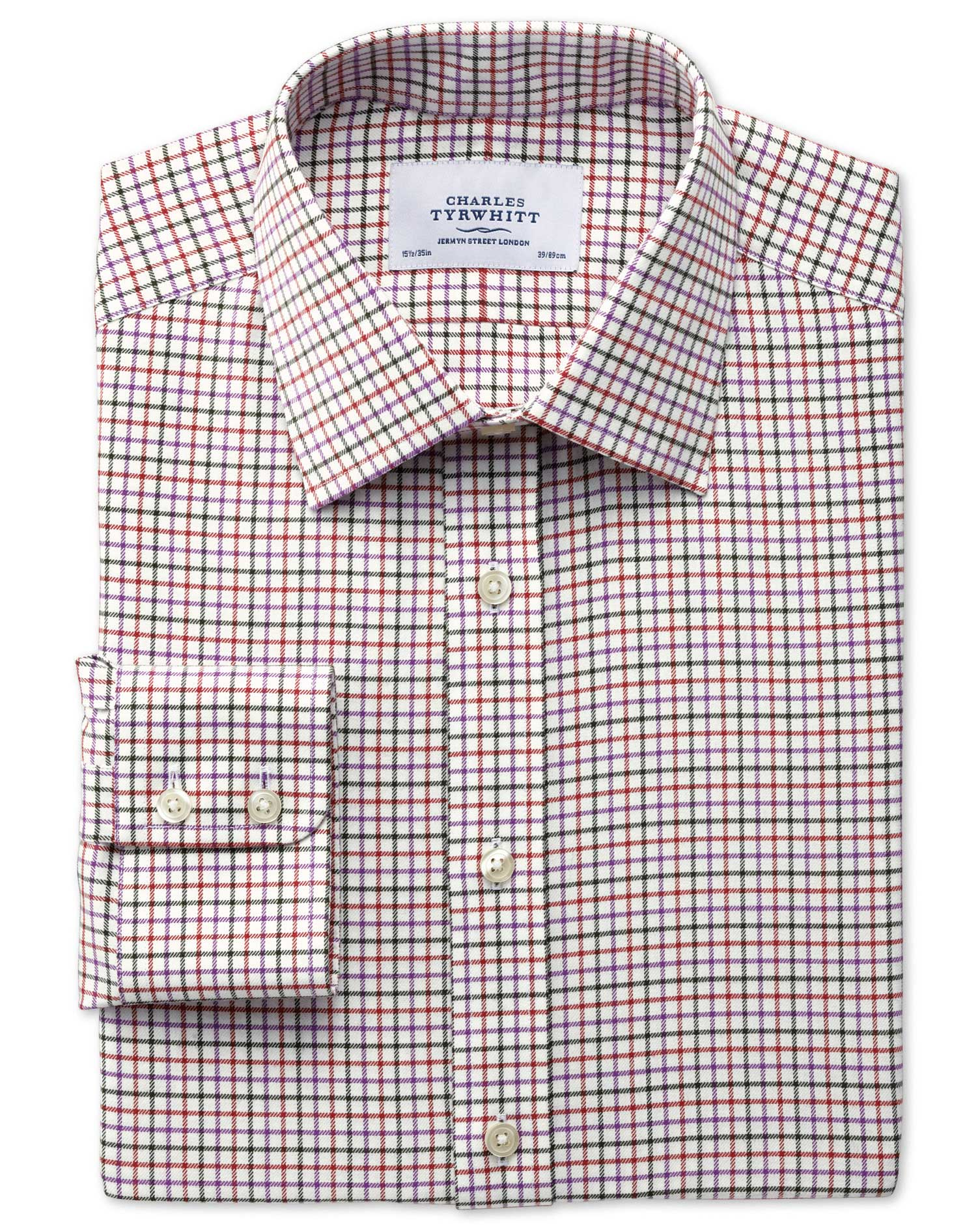 Classic Fit Country Check Purple and Orange Cotton Formal Shirt Single Cuff Size 15/33 by Charles Ty