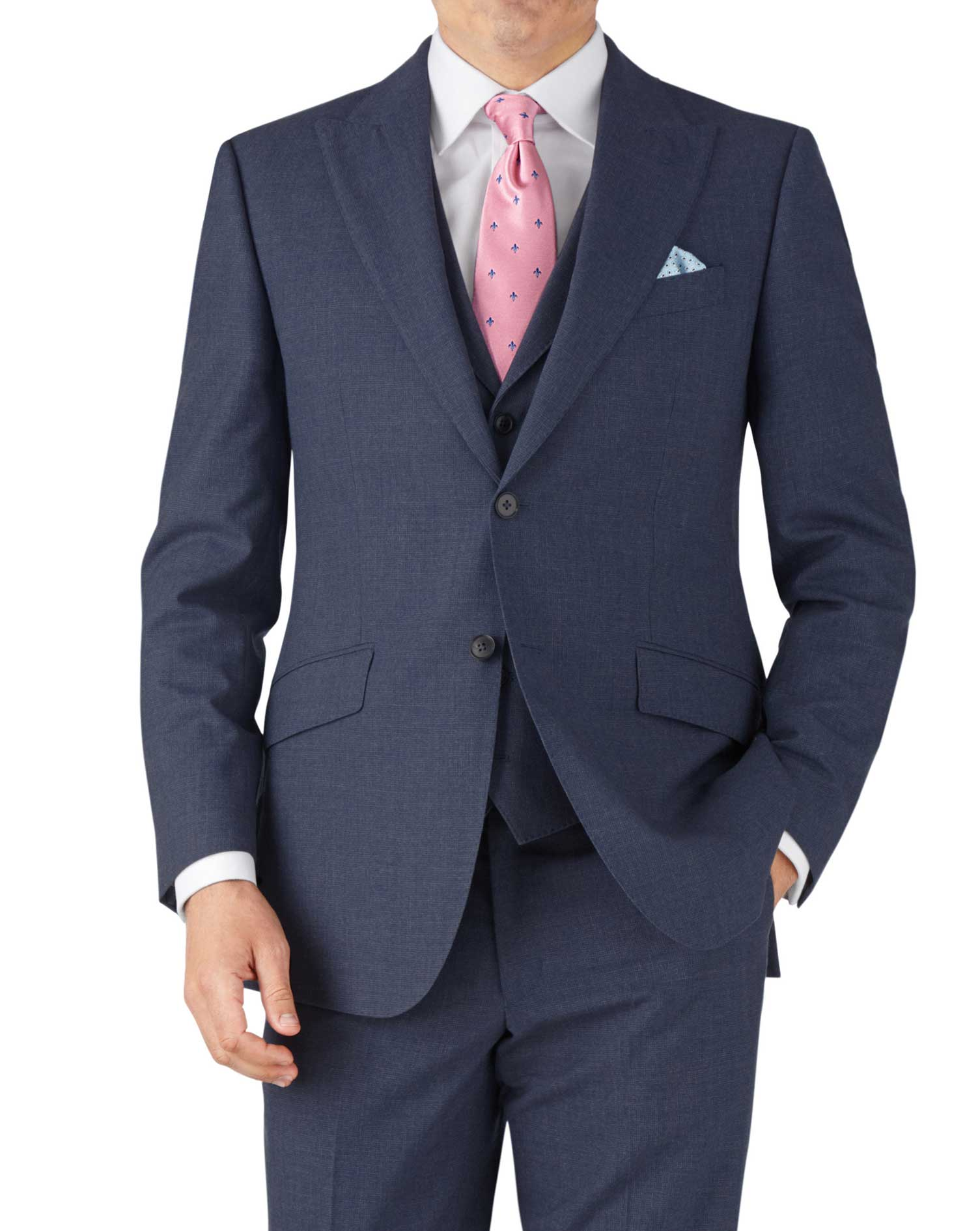 Airforce Blue Puppytooth Classic Fit Panama Business Suit Wool Jacket Size 40 Short by Charles Tyrwh