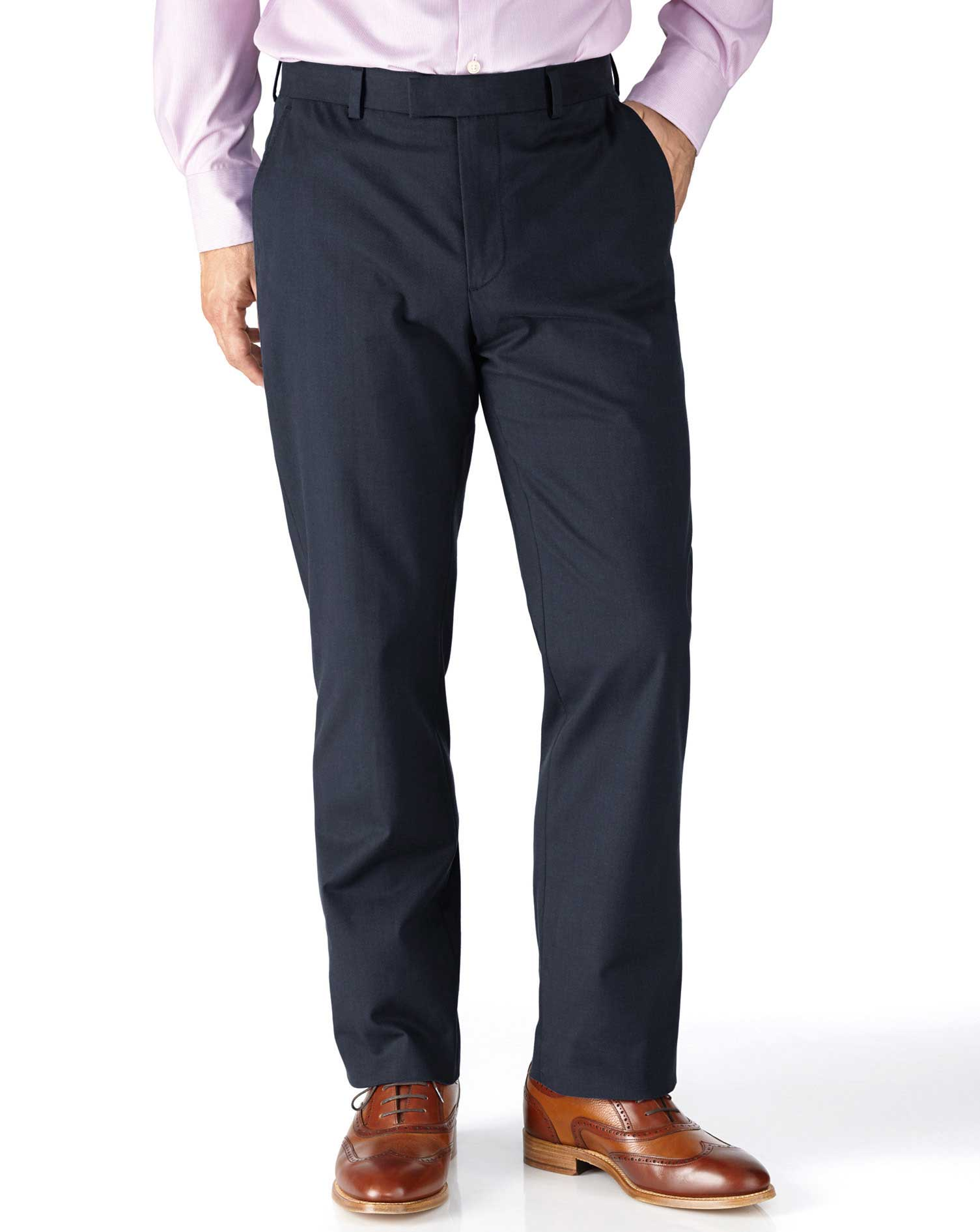 Navy Slim Fit Stretch Cavalry Twill Trousers Size W36 L34 by Charles Tyrwhitt