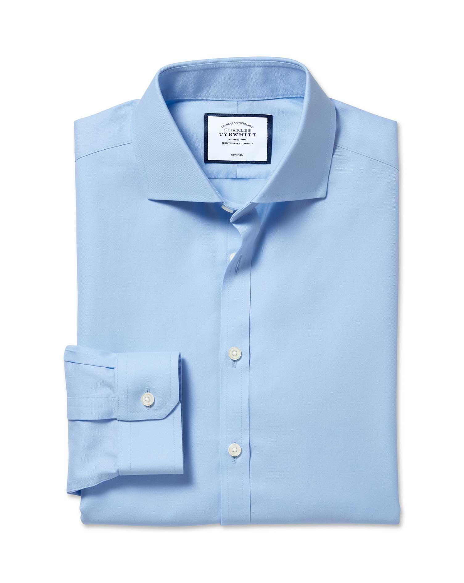 Super Slim Fit Spread Collar Non Iron Twill Blue Shirt