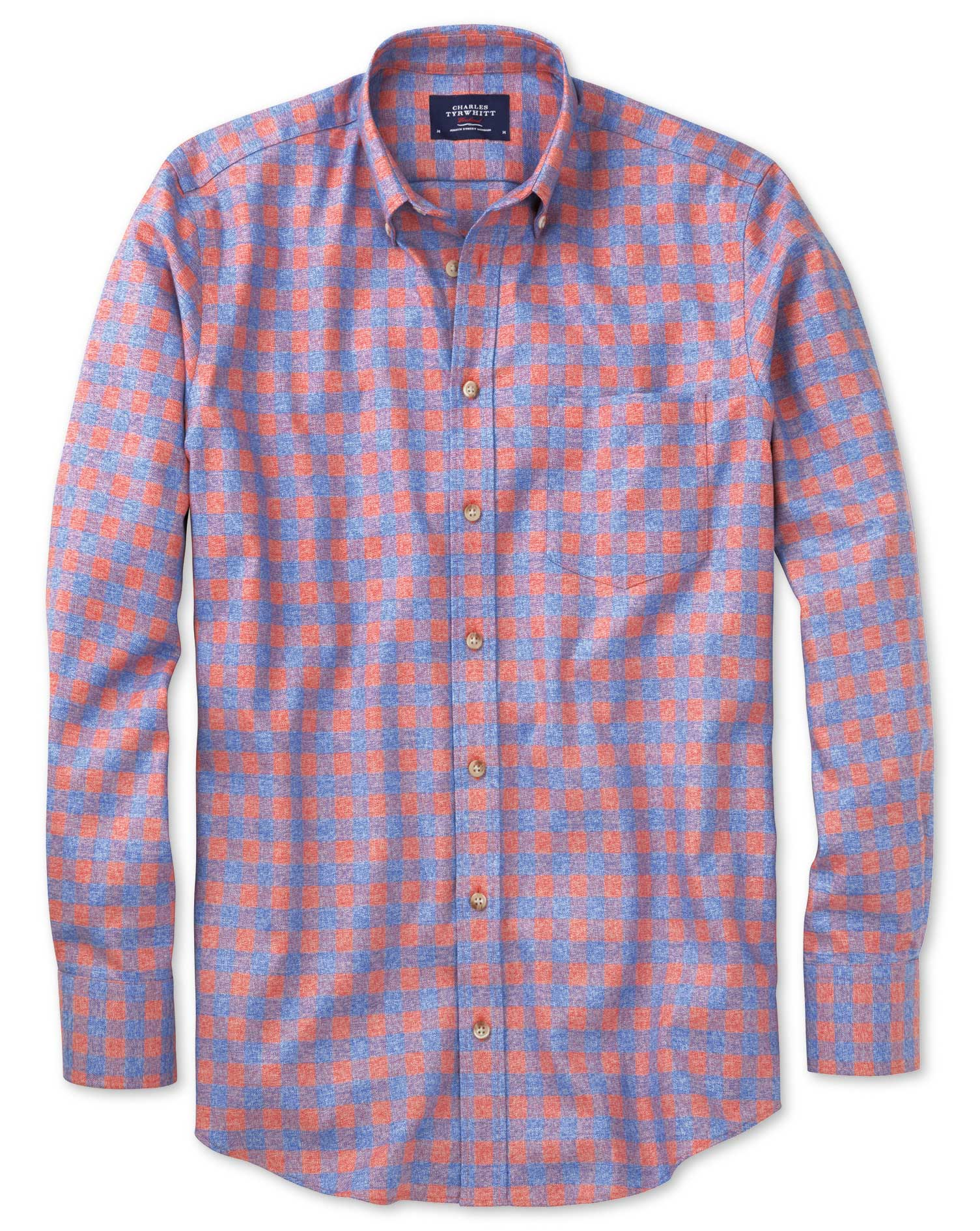 Slim Fit Non-Iron Gingham Coral and Blue Cotton Shirt Single Cuff Size Large by Charles Tyrwhitt