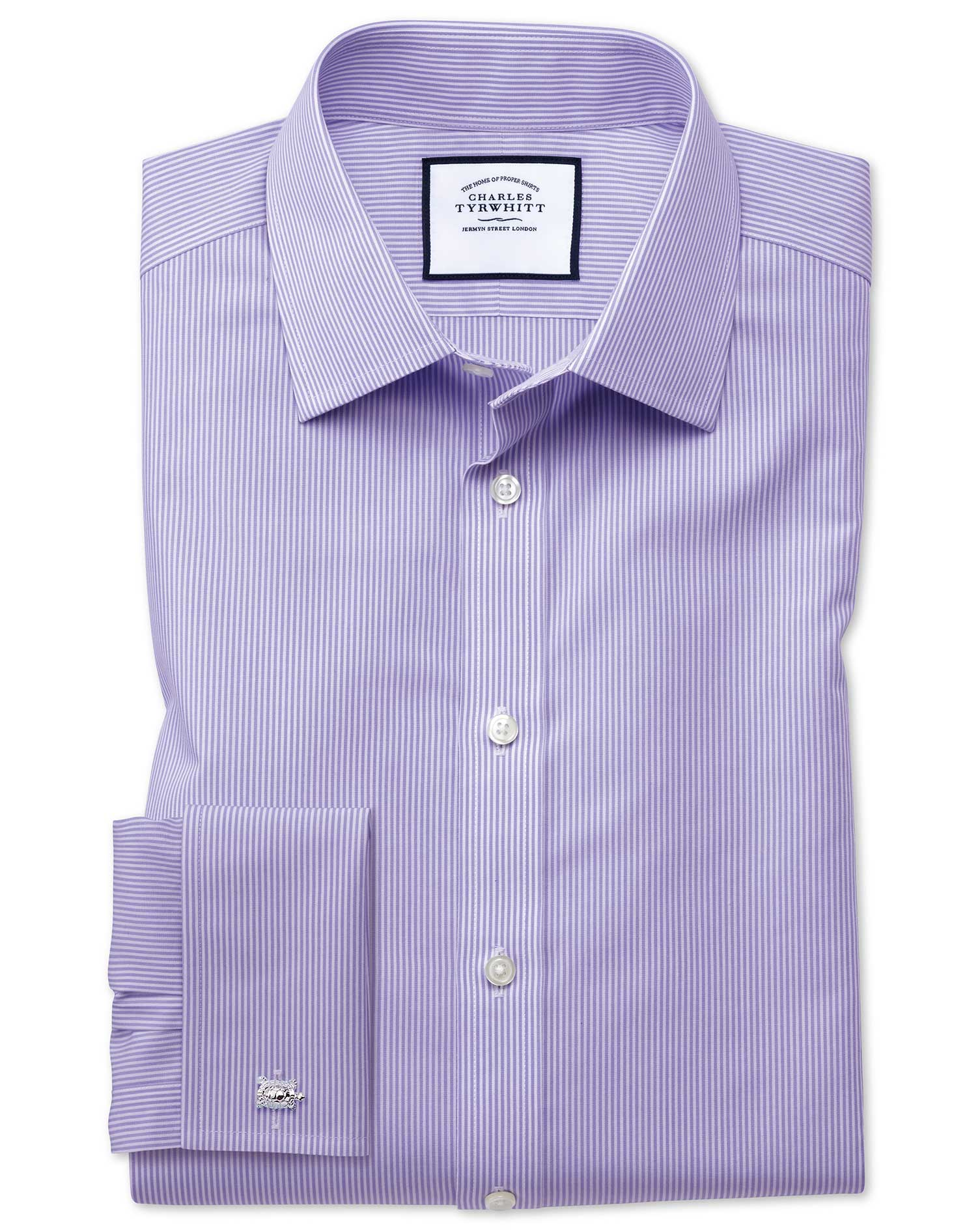 Slim Fit Non-Iron Bengal Stripe Lilac Cotton Formal Shirt Double Cuff Size 16/33 by Charles Tyrwhitt