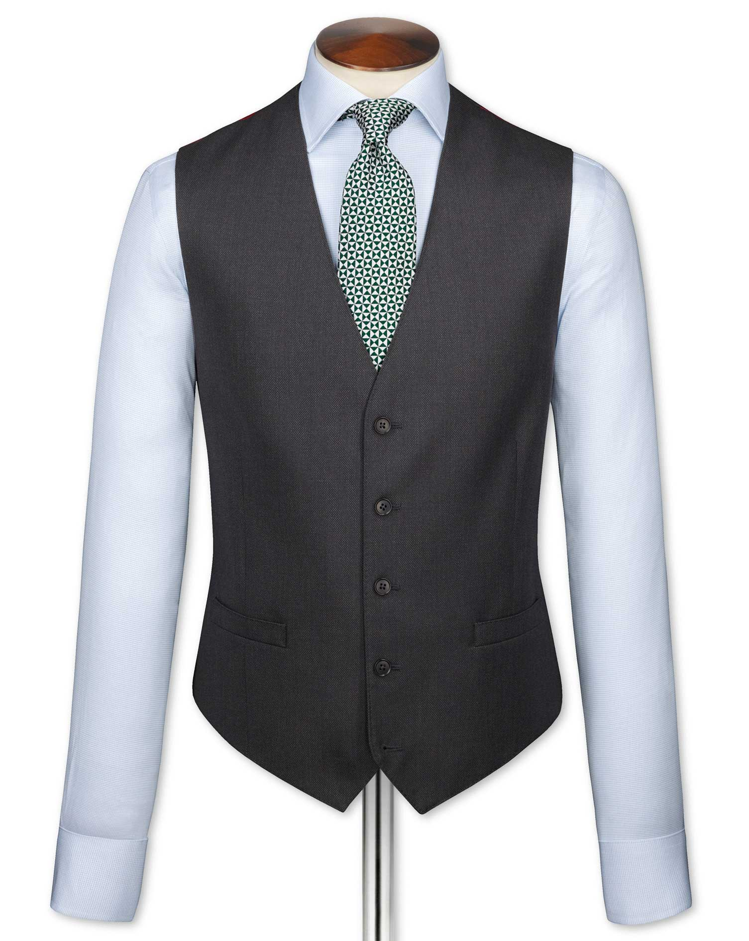 Charcoal Adjustable Fit Birdseye Travel Suit Wool Waistcoat Size w38 by Charles Tyrwhitt