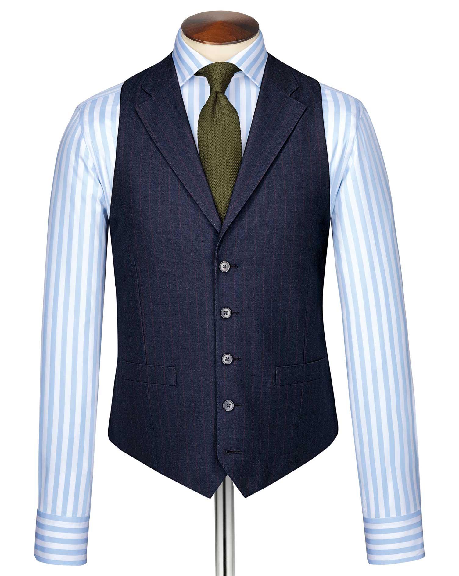 Blue Panama Business Suit Wool Waistcoat Size w38 by Charles Tyrwhitt