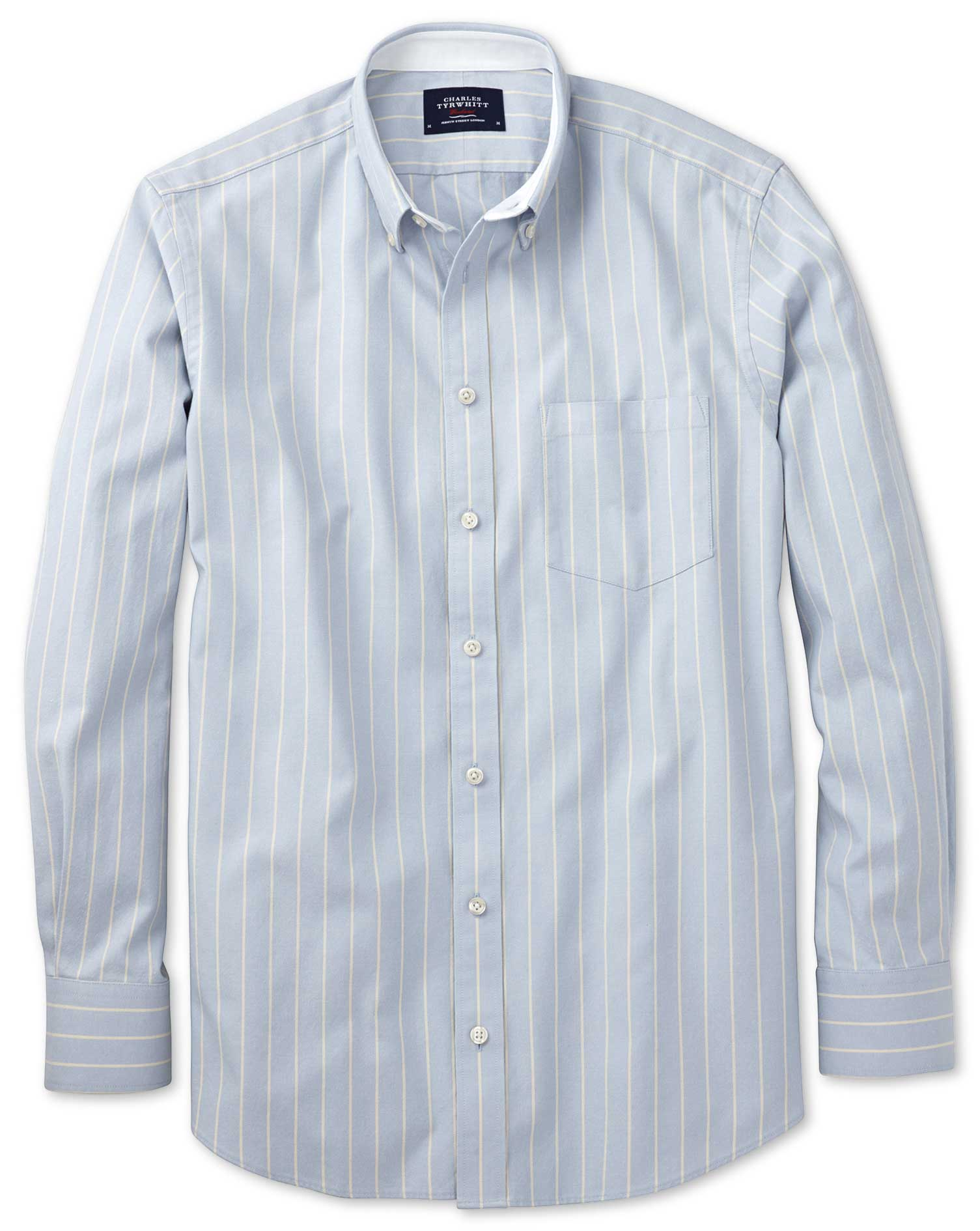 Slim Fit Sky Blue Stripe Washed Oxford Cotton Shirt Single Cuff Size Medium by Charles Tyrwhitt