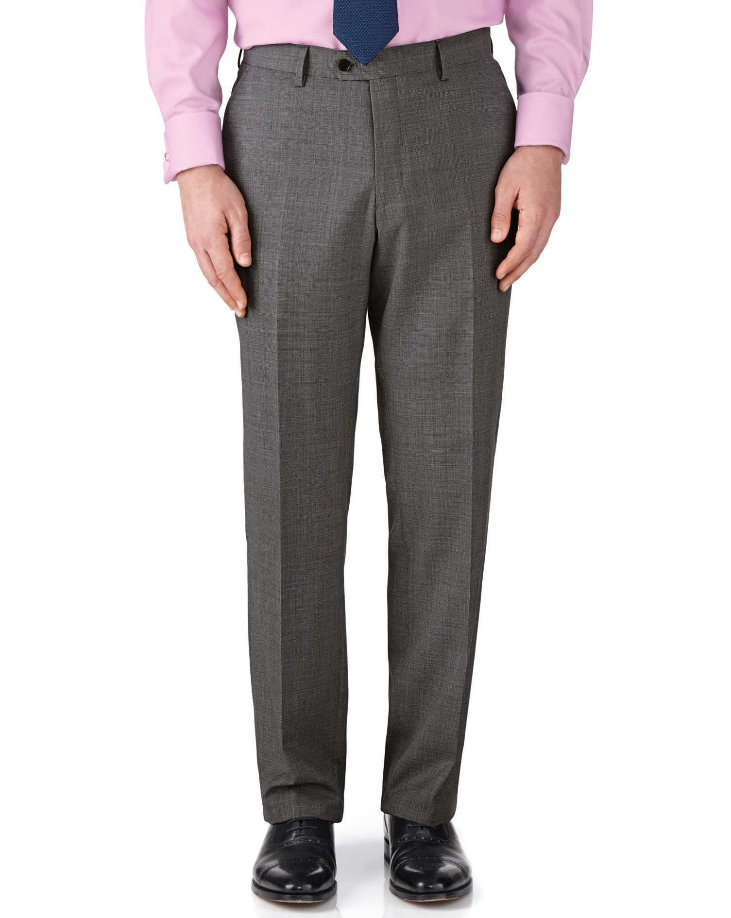 Grey Classic Fit End-On-End Business Suit Trousers Size W42 L32 by Charles Tyrwhitt
