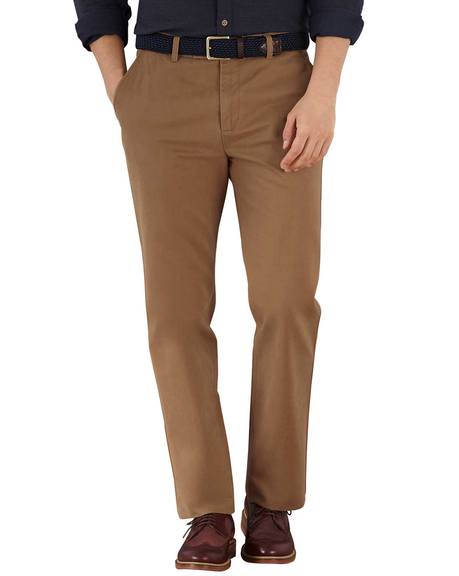 Camel Slim Fit Flat Front Cotton Chino Trousers Size W42 L30 by Charles Tyrwhitt